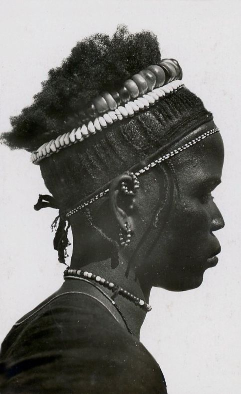 Africa | Portrait of a Toucouleur (Fula) woman. ca. 1910 || Scanned vintage pint; photographer unknown.