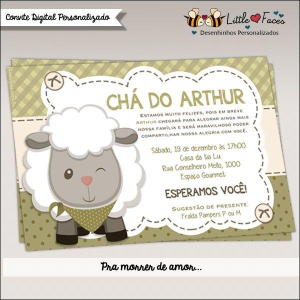 Convite Chá de Bebê Menino Carneirinho para imprimir