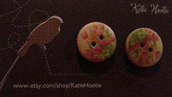 Patterned Wood Button Earrings by KatieHootie on Etsy, $4.50