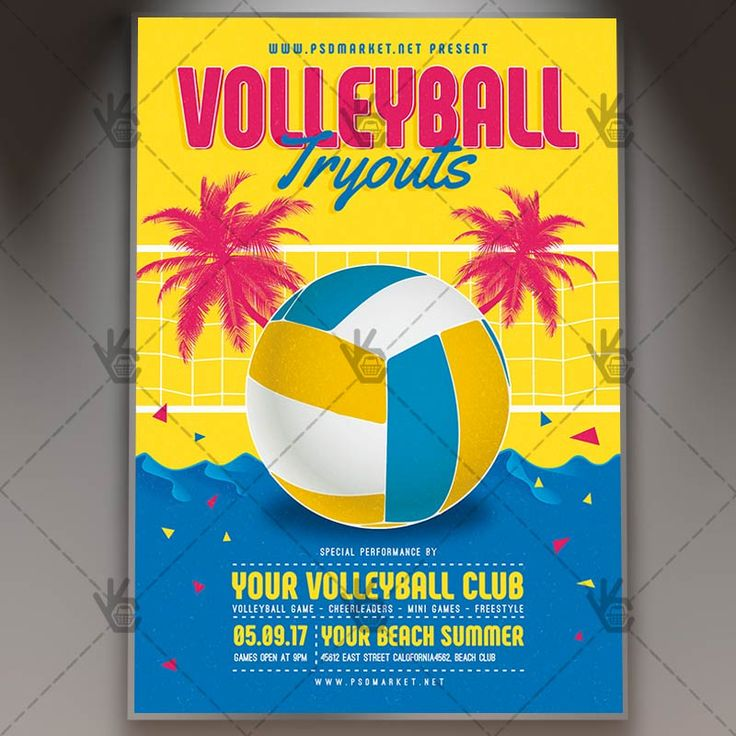 Volleyball Tryouts - Premium Flyer PSD Template. #beach #prize #relax #sand #sport #team #trophy #vacation #volley #volleyball #win  DOWNLOAD PSD TEMPLATE HERE: https://www.psdmarket.net/shop/volleyball-tryouts-premium-flyer-psd-template/  MORE FREE AND PREMIUM PSD TEMPLATES: https://www.psdmarket.net/shop/