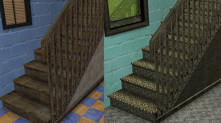 Recolours of Maxis stairs, the cheapest.  dl: http://www.mediafire.com/file/iiqz3mzyyjt/Maxis+stairs.rar