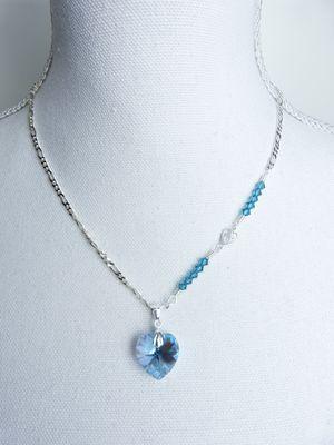 Sterling Zilveren Aquamarijn Swarovski hartje hanger met Sterling Zilveren ketting