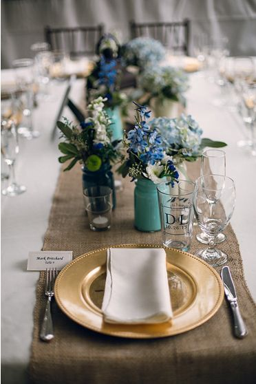 Gorgeous wedding reception table setting with a rustic and blue green overtones. & 164 best Table Settings images on Pinterest | Desk layout Place ...