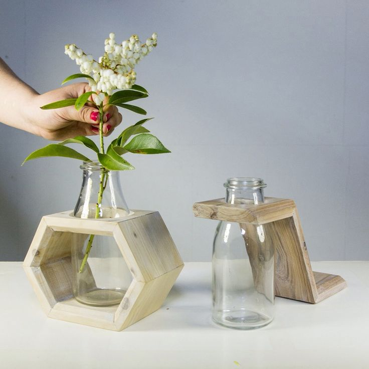 Timber Vases made from recycled/reclaimed timber with a glass milk bottle. @rmitlink @bigdesignmarket. Thanks for the photo!