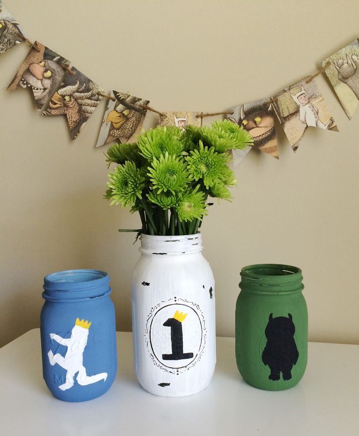 Where The Wild Things Are Painted Mason Jars, Centerpiece, Birthday Party Decor, Nursery Decor, I'll Eat You Up I Love You So by BeeCottageBoutique on Etsy https://www.etsy.com/listing/288679725/where-the-wild-things-are-painted-mason