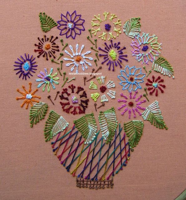 leelas hobbies: Pistil with fly, detached chain & sheaf stitches