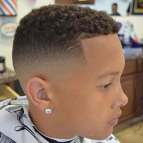 Mid Skin Fade with Shape Up and Short Curls