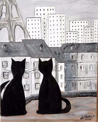419-tableau-acrylique-034-Matou-sur-les-toits-de-PARIS-034-40X50
