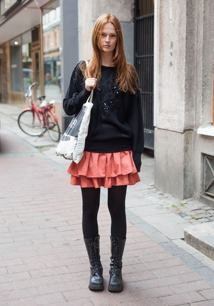 """Street style from Helsinki, Finland:  Kiia, 28    """"I found all my clothes in Kallio park flea market last Wednesday. The outfit cost 7 euros.  I love boots and sequins. Actually I'm quite an anti-fashion person."""""""