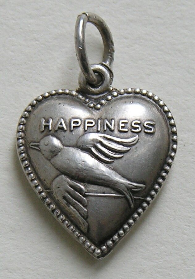 Bird of Happiness Vintage silver puffy heart charm