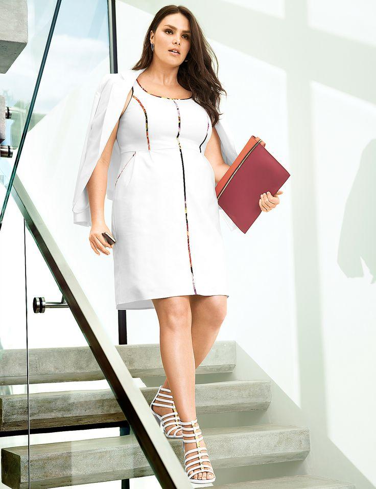 Plus Size Pop Trim Shift Dress by Lane Bryant | Lane Bryant