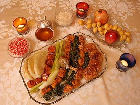 rosh hashanah food table