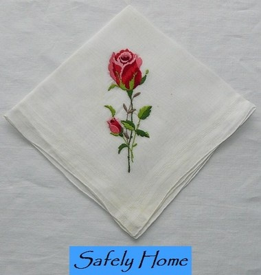 Vintage Embroidery Red Rose Ladies Hanky Handkerchief HR