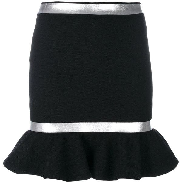 Moschino silver trim peplum skirt ($730) ❤ liked on Polyvore featuring skirts, black, peplum skirts, moschino and moschino skirt