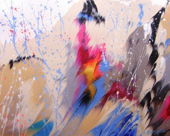 """""""Splashes"""" #10 Abstract painting on paper 16x20"""" ( 40.6 x 50.8 cm)"""