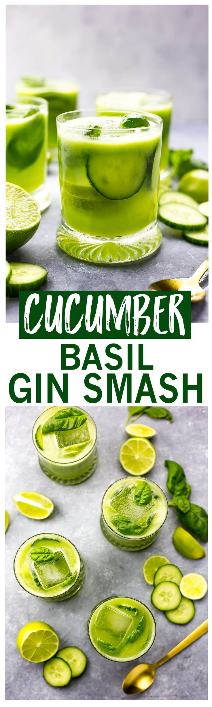 These Cucumber Basil Gin Fizz cocktails are a refreshing and delicious way to ring in the warmer spring weather! Enjoy these vibrant, fizzy green drinks with or without alcohol!