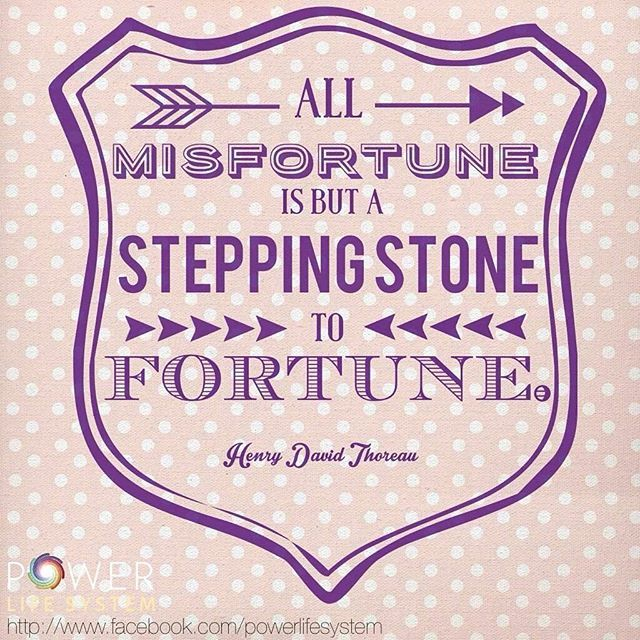 All misfortune is but a stepping stone to fortune. -Henry David Thoreau  The Power Life System™