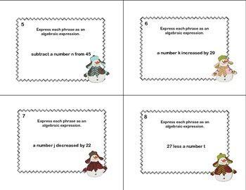 WRITING ALGEBRAIC EXPRESSIONS-MATH TASK CARDS-GRADE 6-CCSS - TeachersPayTeachers.com
