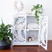 <strong>This item will be re-stocked early October.  To be notified when pre-orders open please email au-fait@hotmail.com.au </strong><strong> Thank you.</strong> An Au Fait Peacock Cabinet is a stand out feature piece for any room.  The intricate open weave on the cabinet doors allows a little sneak peak into the treasures inside. This product no longer comes with a glass top due to the high incident of breakages during shipping and delivery and inability ...