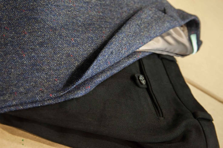 Holland & Sherry 'Sherry Tweed' Donegal Tweed jacket and 'Cotton Classics' Twill cotton trousers.