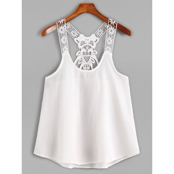 White Contrast Lace Crochet Cami Top (11 CAD) ❤ liked on Polyvore featuring tops, shirts, white, white lace camisole, white shirt, white lace tank, white spaghetti strap tank top and lace camis