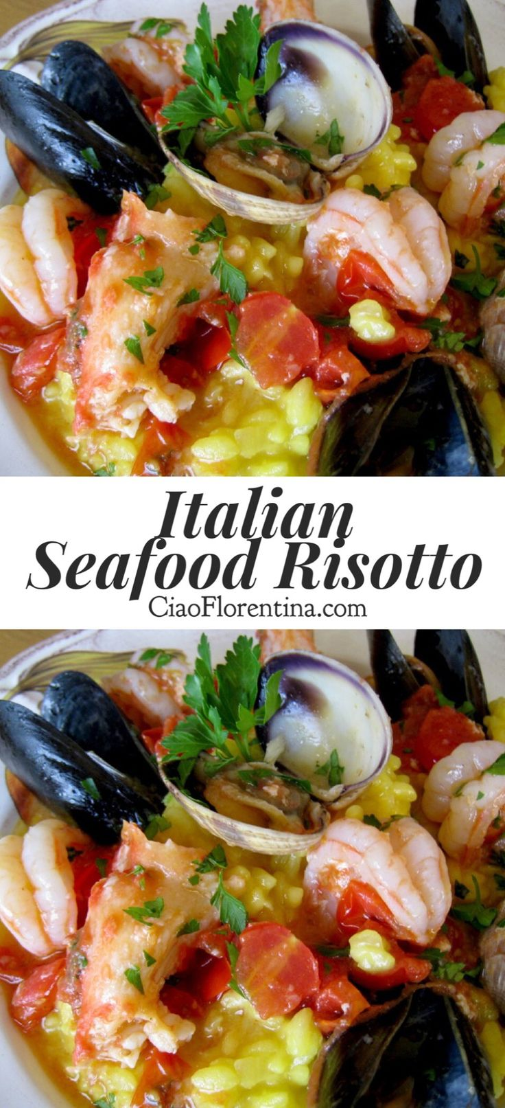 Seafood Risotto Frutti si Mare Recipe with Saffron, Shrimp, Clams and Mussels | CiaoFlorentina.com @CiaoFlorentina