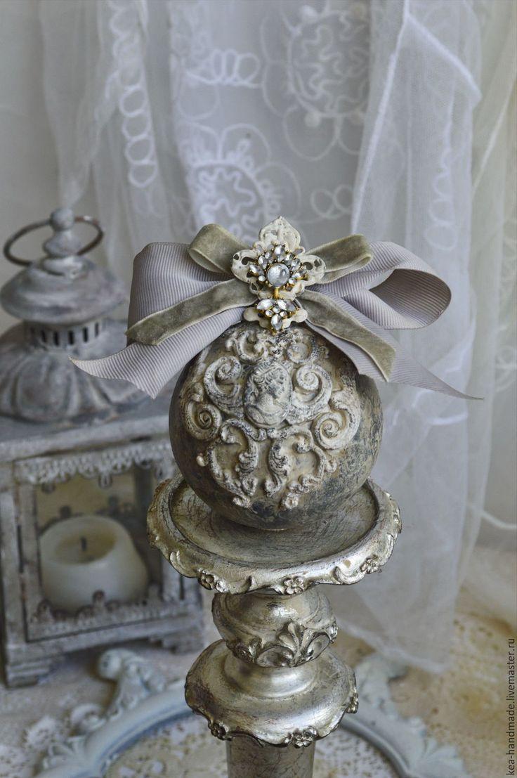"""Купить Елочный шар """"Мисс Грей"""" - Новый Год, серый, камея, елочные игрушки"""