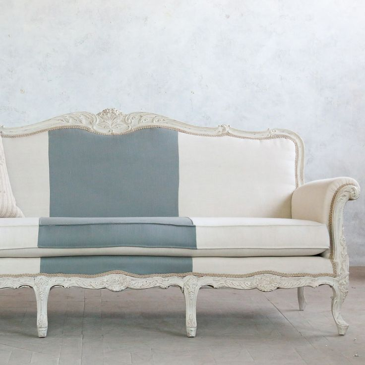 Eloquence One of a Kind Vintage Settee Louis XV Slate Stripe