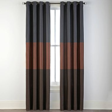 Studio trio grommet top curtain panel hot chili multi for Jcpenney living room curtains