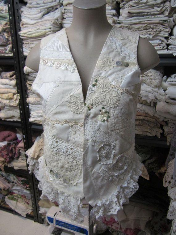 VINTAGE KITTY..patchwork vest.. doilies by sistersroseandruby
