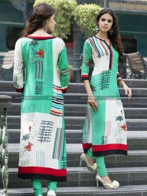 Green N Cream Rayon Cotton Lovely Designer Kurti