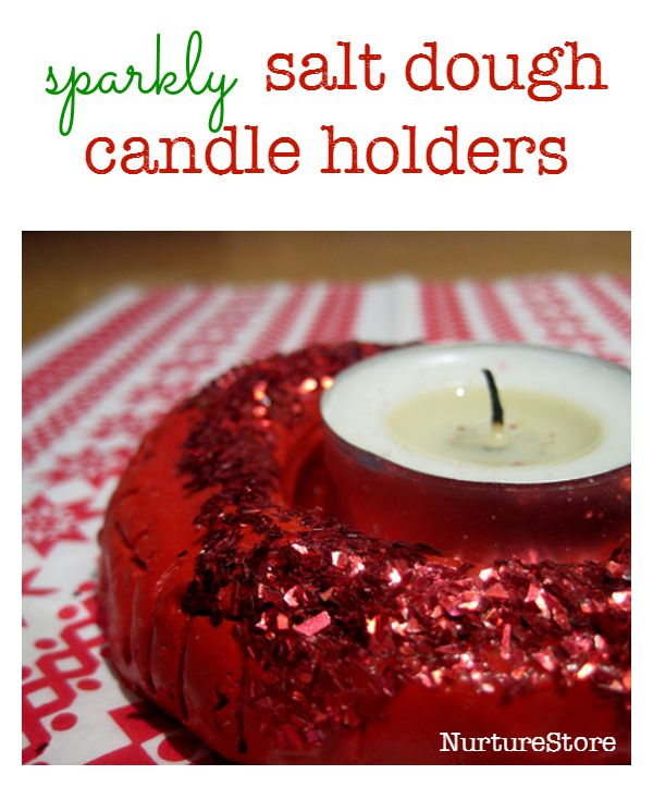 sparkly salt dough candle holders - great christmas craft for kids to give as a gift :: salt dough recipe