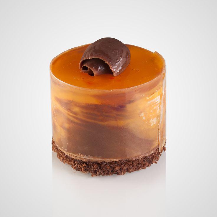 Πάστα με μους σοκολάτας υγείας και πορτοκαλιού με επικάλυψη φαρσιτούρα πορτοκάλι, κομμάτια σοκολάτας υγείας και φέτες πορτοκαλιού
