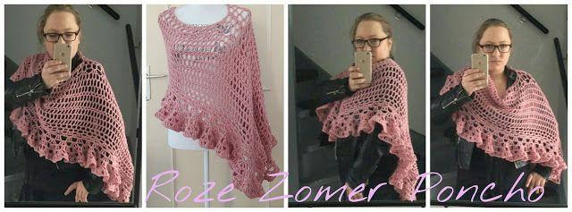 M. Sem: Roze Zomer Poncho, #haken, gratis patroon, Nederlands, #haakpatroon