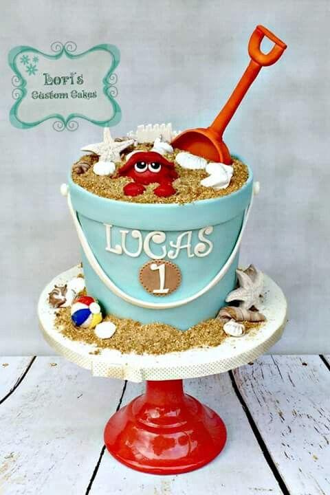 Gorgeous sand bucket cake