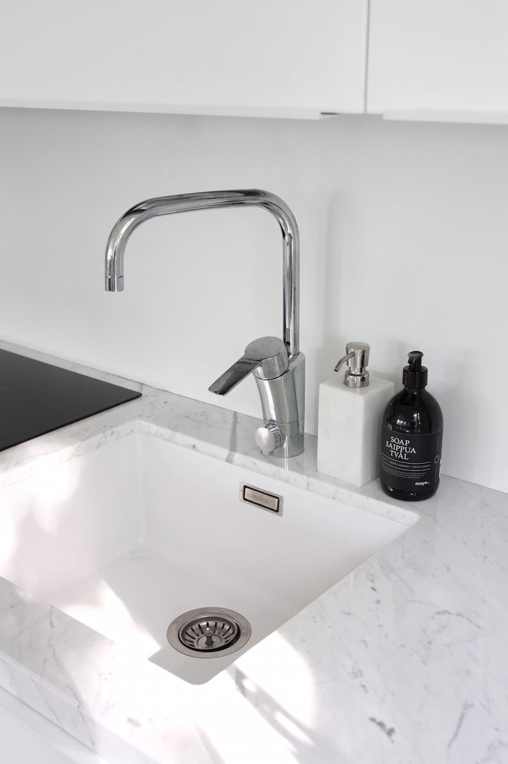 Homevialaura   Modern White kitchen after renovation   Domus   Ikea   marble countertop