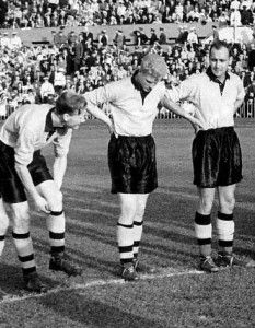 Bill Slater, Ron Flowers and Dennis Wilshaw line up for England in Russia 1955