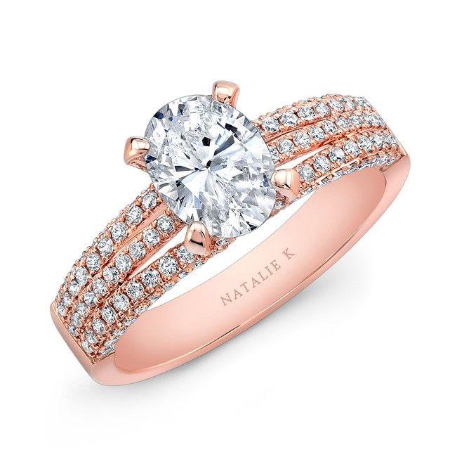 18K Rose Gold White Diamond Triple Split Shank Engagement Ring  - NK31324-18R
