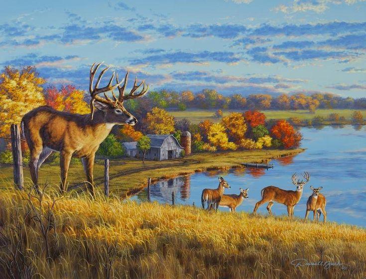 34 best artist darrell bush images on pinterest winter for Deer scenery