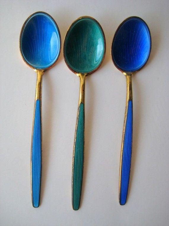 Vintage David Andersen Sterling Enamel Spoons Gorgeous enamel spoons, love those colours!