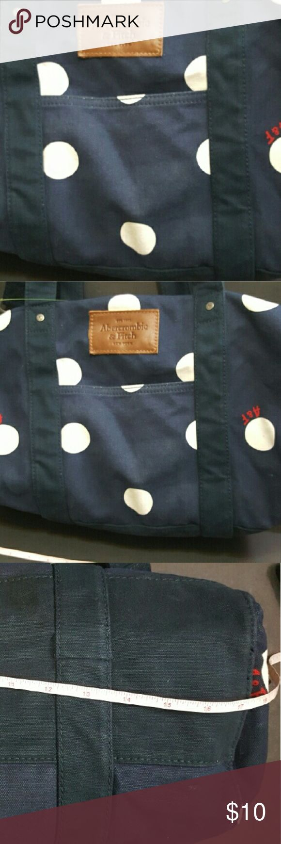 Abercrombie and Fitch Polka dot duffel bag Handles and shouder strap Used a few times some spotting here and there but overall good used condition  Fabric is thick fabric Abercrombie & Fitch Bags Travel Bags
