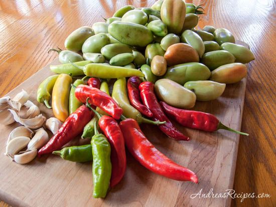 Andrea Meyers - Green tomatoes, Hungarian wax peppers, garlic