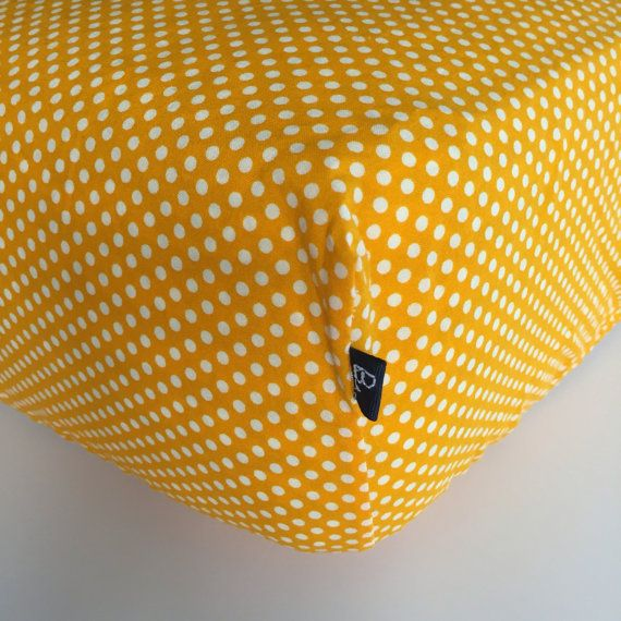 FITTED CRIB SHEET  Bright Yellow with White Mini by Beakyriboo