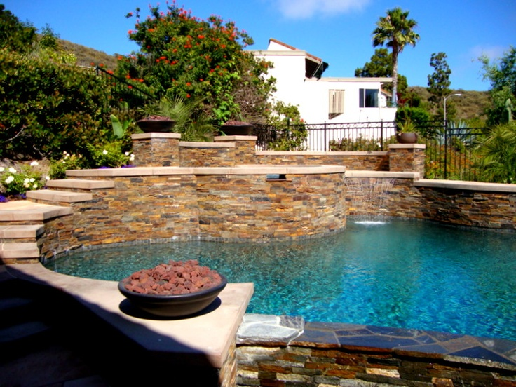 Pool spa fire bowls swimming pool pinterest pool for Pool fire bowls