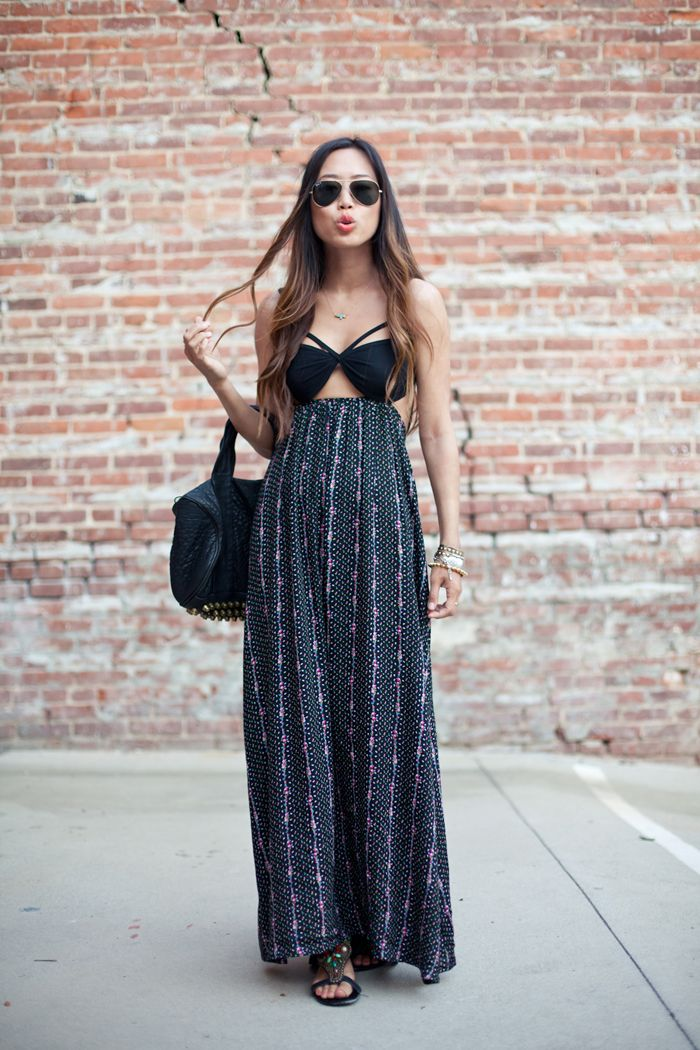 maxi dress with cut outs.