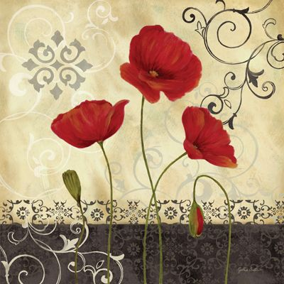 RB3409 <br> Red Vintage Poppies I <br> 18x18