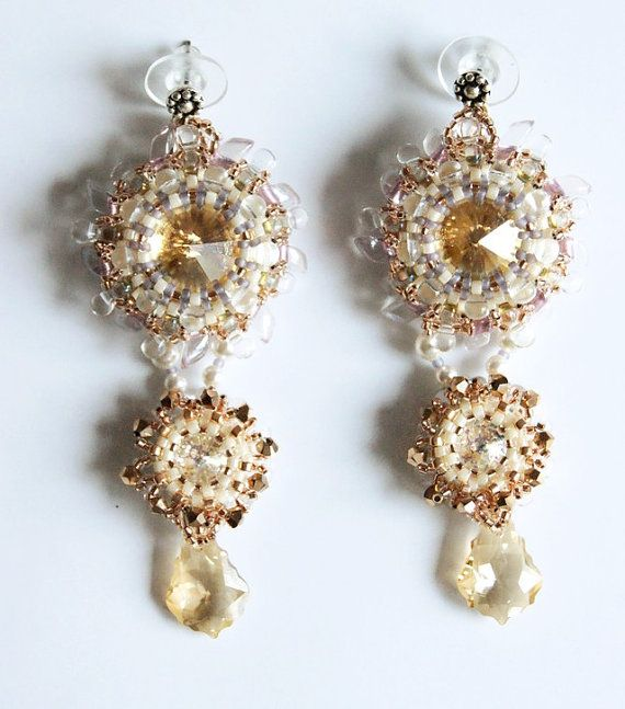 Earrings Thaw with crystals Bead earrings by InviolaJewerly
