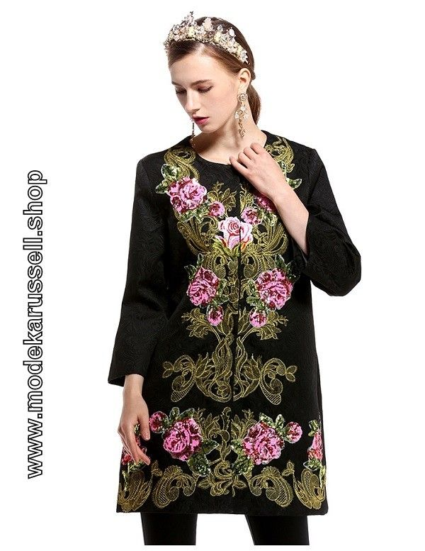 Damen Kurz Mantel in Schwarz mit Blumenstickerei