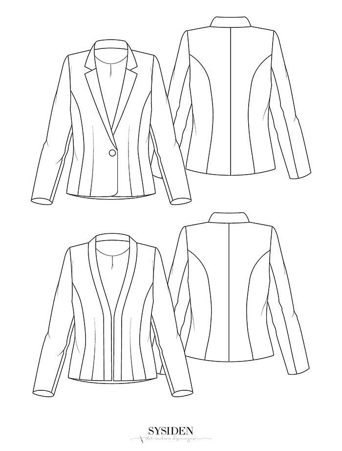 Denne gang skal det handle om blazer-jakker. Vi har lavet to grund-versioner: En klassisk med revers og krave og en nemmere version med smal påsyet krave. Sysiden #24: Blazer-jakker - Sysiden.dk