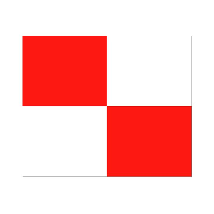 Seinvlag U 20x24cm Materiaal gemaakt van de beste kwaliteit vlaggenstof, rondom gezoomd met koord en lus, hoogste kwaliteit. Betekenis van deze signaalvlag U Uniform : U stuurt een gevaarlijke koers!